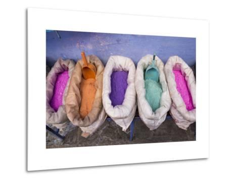 Morocco, Chechaouen, Powders or Dyes on Historical Village Street-Emily Wilson-Metal Print