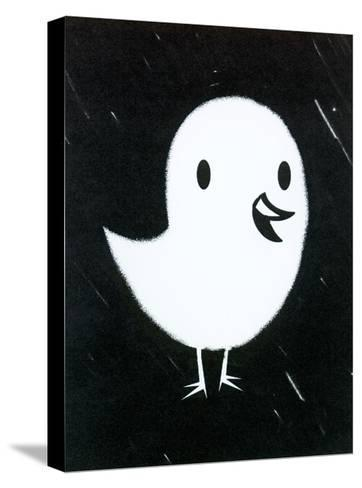 White Chick on Black Texture--Stretched Canvas Print