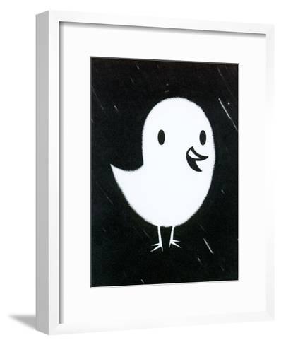 White Chick on Black Texture--Framed Art Print