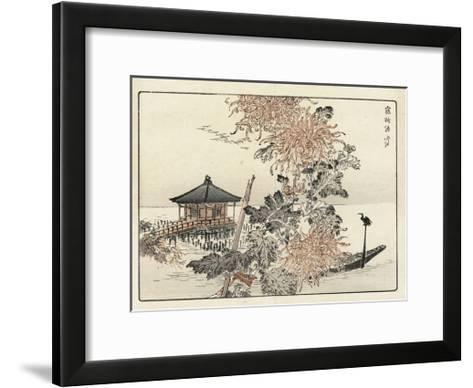 Close Up of Flowers with Shoreline Pagoda and Boat--Framed Art Print