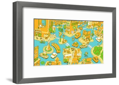 Animal City Scene with Taxi, Buses, Cars, Buildings, and Shops--Framed Art Print