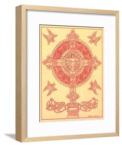Ornamental Cross Medallion with Angels--Framed Art Print