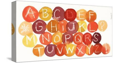 White Crayon-Drawn Alphabet on Colorful Dots--Stretched Canvas Print