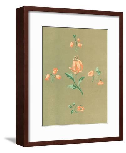 Stylized, Disconnected Orange Flower Stems--Framed Art Print