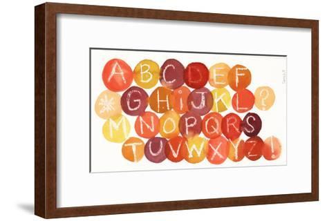 White Crayon-Drawn Alphabet on Colorful Dots--Framed Art Print