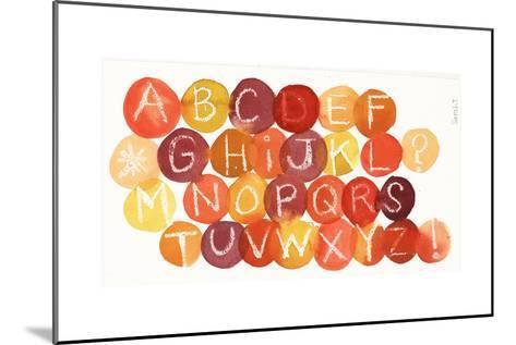 White Crayon-Drawn Alphabet on Colorful Dots--Mounted Art Print