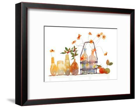 Watercolor Of Apples And Vases And Jars With Flowers Art Print By