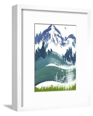 Painterly Snowy Mountain Scene with Bird in Sky--Framed Art Print