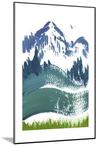 Painterly Snowy Mountain Scene with Bird in Sky--Mounted Art Print