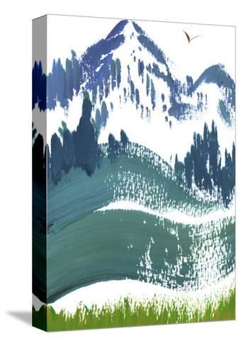 Painterly Snowy Mountain Scene with Bird in Sky--Stretched Canvas Print