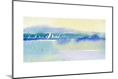 Watercolor with Many Sailboats and Shoreline--Mounted Art Print