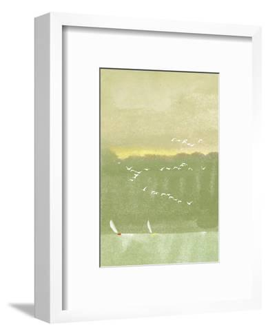 Watercolor of Sailboats with Flock of Seagulls--Framed Art Print