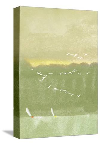 Watercolor of Sailboats with Flock of Seagulls--Stretched Canvas Print