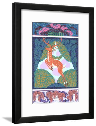 Multiple Illustrations of Stylized Deer and Fruit Bouquets--Framed Art Print