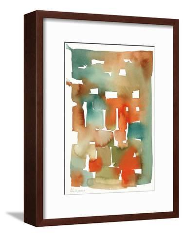 Abstract Watercolor Pattern in Orange and Teal--Framed Art Print