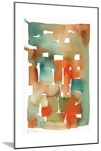 Abstract Watercolor Pattern in Orange and Teal--Mounted Art Print