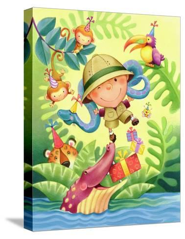 Boy Adventurer Celebrating Birthday with Jungle Animals--Stretched Canvas Print