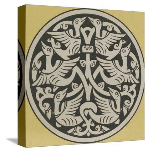 Medallion with Interwoven Birds Design--Stretched Canvas Print