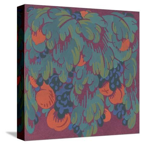 Stylized Fruits with Scalloped Leaves--Stretched Canvas Print