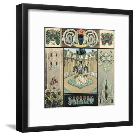 Multiple Decorative Panels with Floral Vines and Frolicking Cherubs--Framed Art Print