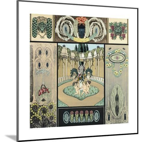 Multiple Decorative Panels with Floral Vines and Frolicking Cherubs--Mounted Art Print