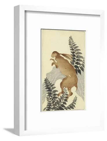 Stylized Rabbit with Leafy Branches Watercolor--Framed Art Print