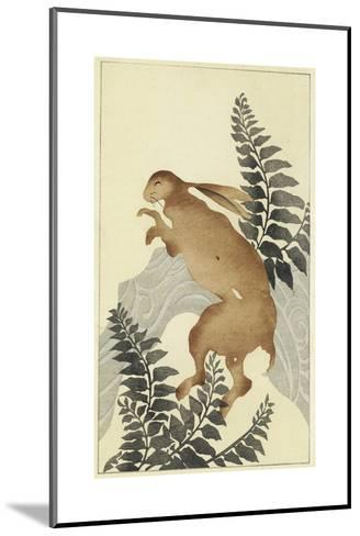 Stylized Rabbit with Leafy Branches Watercolor--Mounted Art Print