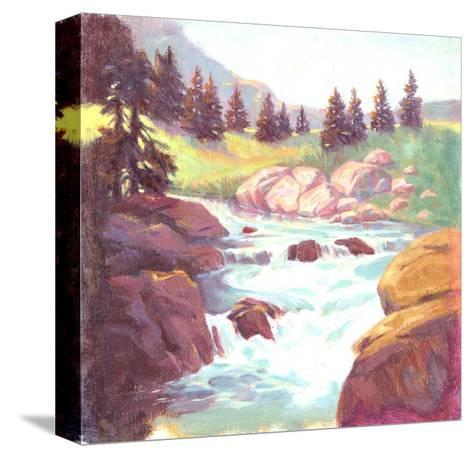 Painted Landscape of Stream Rushing over Rocks--Stretched Canvas Print