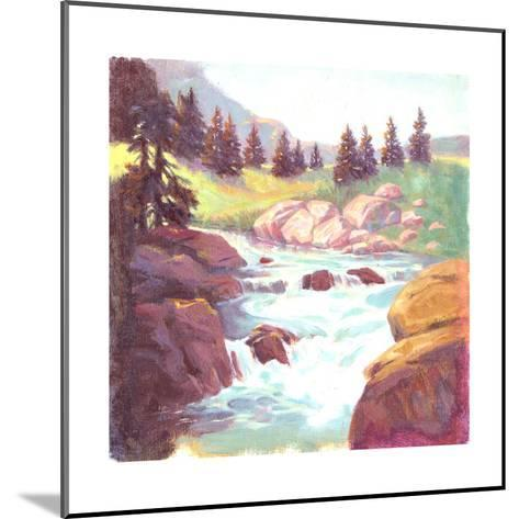 Painted Landscape of Stream Rushing over Rocks--Mounted Art Print