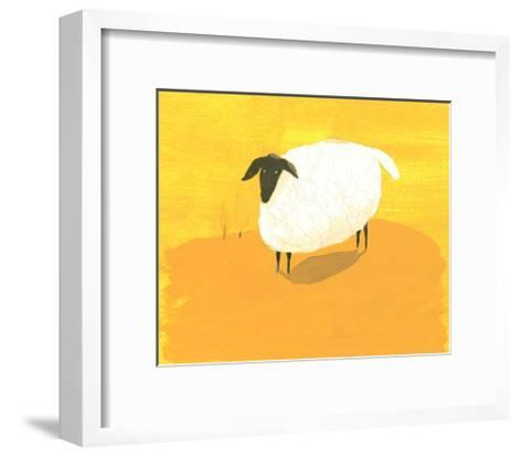 Stylized Sheep Standing on Yellow Texture--Framed Art Print