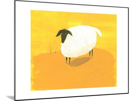Stylized Sheep Standing on Yellow Texture--Mounted Art Print