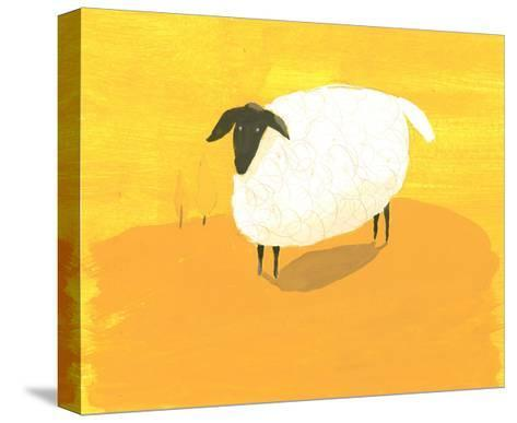 Stylized Sheep Standing on Yellow Texture--Stretched Canvas Print