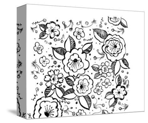 Black and White Flowers and Flower Buds--Stretched Canvas Print