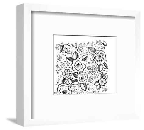 Black and White Flowers and Flower Buds--Framed Art Print