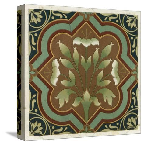 Stylized Flowering Plant in Geometric Frame--Stretched Canvas Print