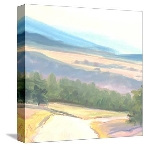 Tranquil Painted Landscape with Distant Mountains--Stretched Canvas Print