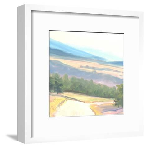 Tranquil Painted Landscape with Distant Mountains--Framed Art Print