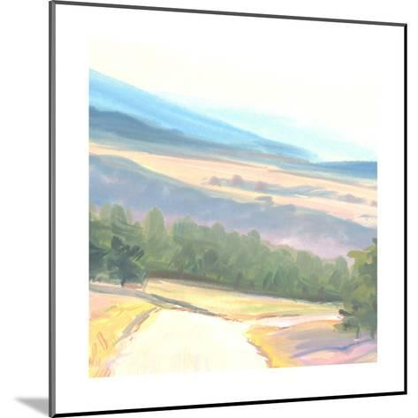 Tranquil Painted Landscape with Distant Mountains--Mounted Art Print
