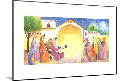 Group of People Reading Scripture Outside at Night--Mounted Art Print