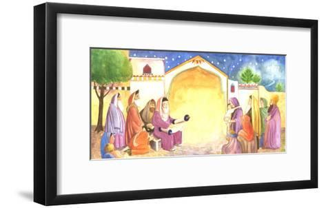 Group of People Reading Scripture Outside at Night--Framed Art Print