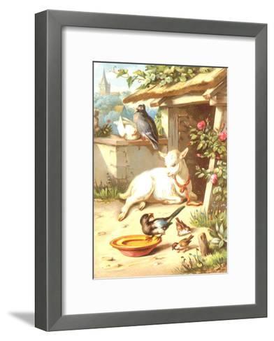 Relaxing Baby Goat with Birds Illustration--Framed Art Print