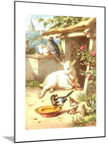 Relaxing Baby Goat with Birds Illustration--Mounted Art Print