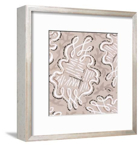 Rings of Undulating Looping Lines on Taupe--Framed Art Print