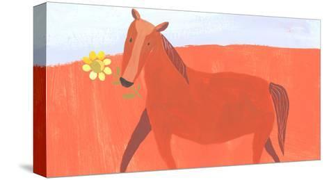 Stylized Painting of Horse with Yellow Flower in Mouth--Stretched Canvas Print
