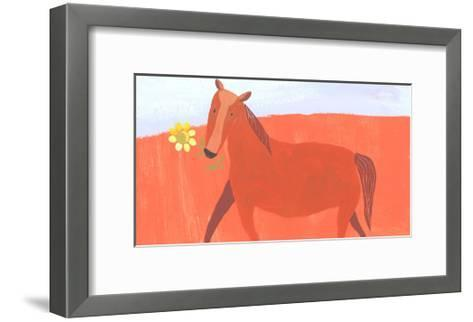 Stylized Painting of Horse with Yellow Flower in Mouth--Framed Art Print