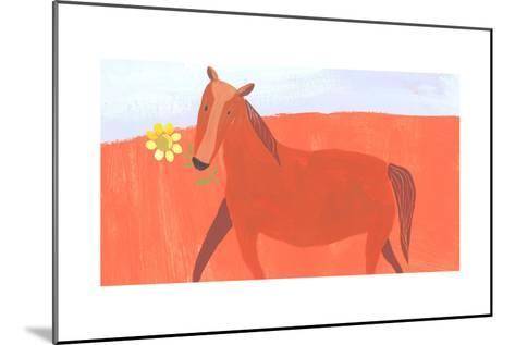 Stylized Painting of Horse with Yellow Flower in Mouth--Mounted Art Print