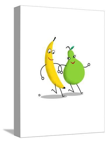 Happy Banana and Pear Walking Arm in Arm--Stretched Canvas Print