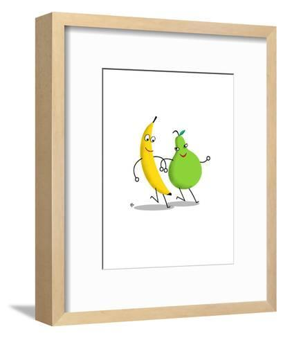 Happy Banana and Pear Walking Arm in Arm--Framed Art Print