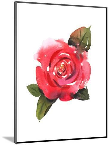 Painted Red Rose with Leaves--Mounted Art Print