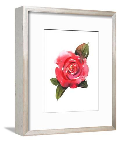 Painted Red Rose with Leaves--Framed Art Print